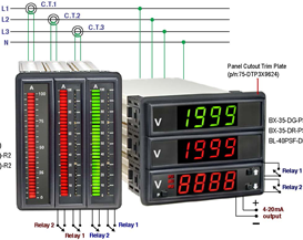 Three Phase Measurement and Control Tri Panel Meter Sets